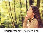 beautiful young girl relaxes... | Shutterstock . vector #731975128