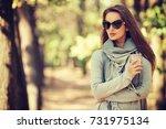 beautiful smiling girl in... | Shutterstock . vector #731975134