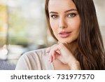 beautiful young  woman outdoors ... | Shutterstock . vector #731977570