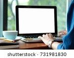woman hands typing laptop... | Shutterstock . vector #731981830