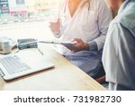 doctors and patients sit and... | Shutterstock . vector #731982730