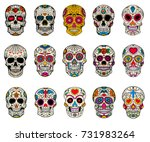 set of sugar skulls... | Shutterstock .eps vector #731983264