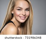 portrait of  young woman with... | Shutterstock . vector #731986348