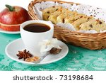 Cup of coffee, apple and fruitcake. - stock photo