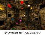 sci fi grungy escape room...   Shutterstock . vector #731988790