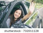 beautiful asian woman smiling... | Shutterstock . vector #732011128