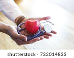 doctor holding stethoscope and... | Shutterstock . vector #732014833