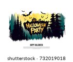 halloween party. vector... | Shutterstock .eps vector #732019018