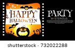 happy halloween poster template.... | Shutterstock .eps vector #732022288