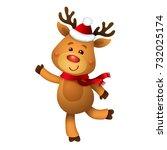 santa's reindeer rudolph.... | Shutterstock .eps vector #732025174