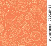 seamless pattern  sweets doodle ... | Shutterstock .eps vector #732025489