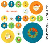 christmas and winter icons... | Shutterstock .eps vector #732031744