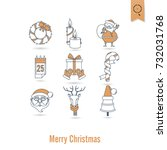 christmas and winter icons... | Shutterstock .eps vector #732031768