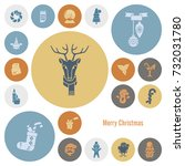 christmas and winter icons... | Shutterstock .eps vector #732031780