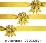 identical golden bows with... | Shutterstock . vector #732033514