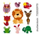wildlife character design | Shutterstock .eps vector #732033970