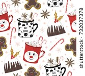 christmas pattern with... | Shutterstock .eps vector #732037378
