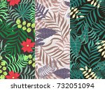 set of three seamless floral... | Shutterstock .eps vector #732051094