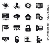 16 vector icon set   chip ... | Shutterstock .eps vector #732052828