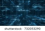digital binary code matrix... | Shutterstock . vector #732053290