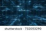 digital binary code matrix... | Shutterstock . vector #732053290