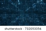 digital binary code matrix... | Shutterstock . vector #732053356