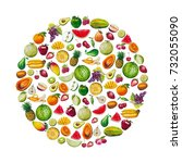 combine the fruits in the shape ... | Shutterstock . vector #732055090