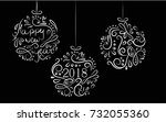 new year 2018 and christmas on... | Shutterstock .eps vector #732055360