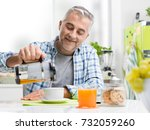 smiling confident man having... | Shutterstock . vector #732059260