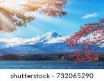 colorful autumn in mount fuji ... | Shutterstock . vector #732065290