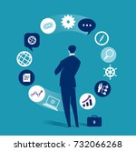 Business dilemma. Businessman looking at the rotating business icons. Concept business vector illustration | Shutterstock vector #732066268