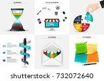 vector hourglass  puzzle  pen ... | Shutterstock .eps vector #732072640