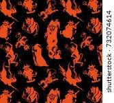 halloween orange festive... | Shutterstock .eps vector #732074614