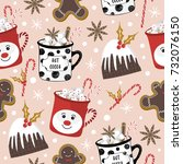christmas pattern with... | Shutterstock .eps vector #732076150