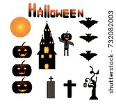 collection of  halloween icons. ... | Shutterstock .eps vector #732082003