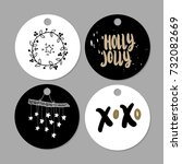 set of doodle christmas gift... | Shutterstock .eps vector #732082669
