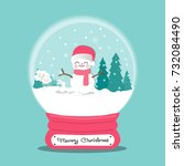 christmas card with snow man in ... | Shutterstock .eps vector #732084490