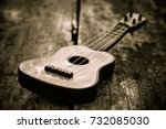 old toy acoustic guitar on... | Shutterstock . vector #732085030