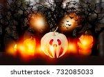 3d rendering   halloween... | Shutterstock . vector #732085033