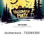 halloween party. vector... | Shutterstock .eps vector #732085300