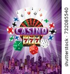 casino sign with casino icons... | Shutterstock .eps vector #732085540