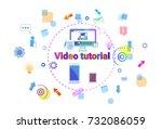 video tutorial learn online... | Shutterstock .eps vector #732086059