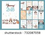 creative calendar 2018 with... | Shutterstock .eps vector #732087058