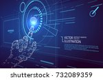touch the future interface... | Shutterstock .eps vector #732089359