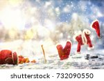santa claus clothes lying on a... | Shutterstock . vector #732090550