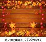 autumn card template with... | Shutterstock . vector #732095068