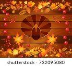 happy thanksgiving day logotype ... | Shutterstock . vector #732095080