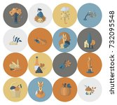 set of flat autumn icons.... | Shutterstock .eps vector #732095548
