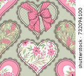 seamless pattern with hearts.... | Shutterstock .eps vector #732096100