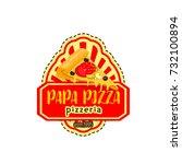 pizza icon for italian pizzeria ... | Shutterstock .eps vector #732100894